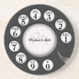 Dial rotatorio del teléfono del monograma del vint posavasos manualidades