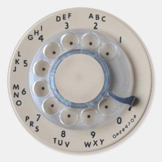 Dial rotatorio retro del teléfono pegatina redonda