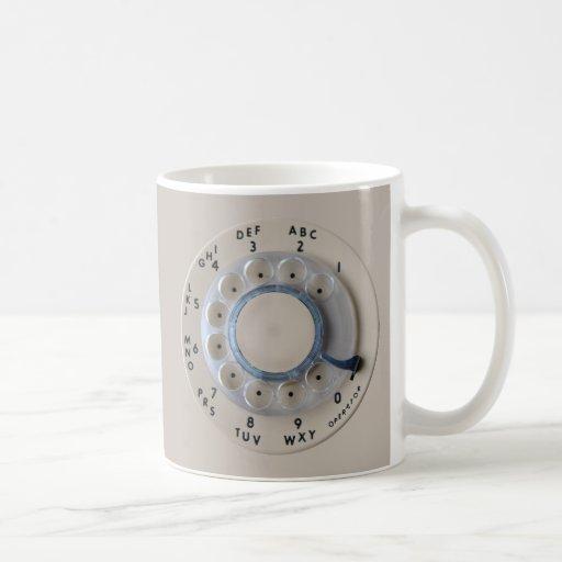 Dial rotatorio retro del teléfono taza básica blanca