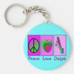 Diálisis del amor de la paz llaveros