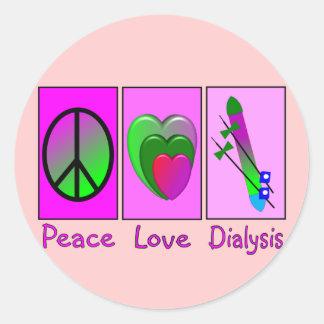Diálisis del amor de la paz pegatina redonda