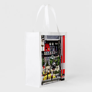 Dials and Hoses on Fire Truck Reusable Grocery Bag