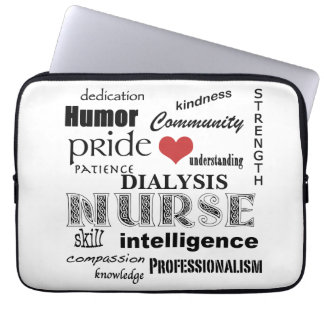 Dialysis Nurse-Attributes/Black+White-13 inch Laptop Sleeve