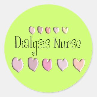 Dialysis Nurse Hearts Design Gifts Classic Round Sticker