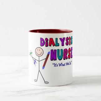 Dialysis Nurse Stick Person Design Two-Tone Coffee Mug