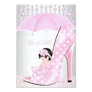 Diamante 2 del zapato de bebé del rosa del chica invitación 12,7 x 17,8 cm