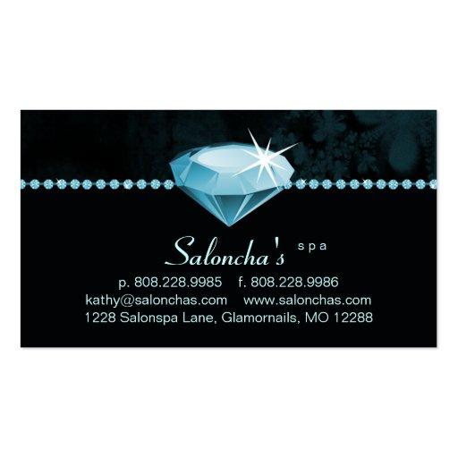 Diamante artificial azul del corazón de la tarjeta tarjetas de visita