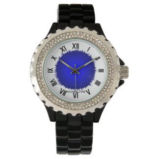 Diamante artificial con el flash negro del azul reloj de mano