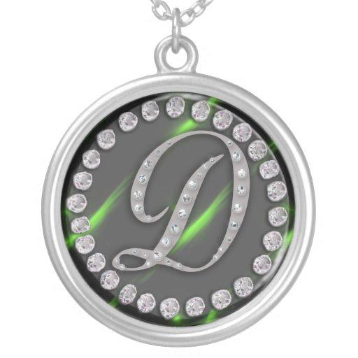 """diamante artificial """"d """" colgante redondo"""