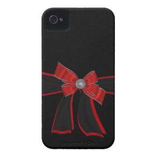 Diamante artificial negro y rojo elegante caso de iPhone 4 Case-Mate coberturas