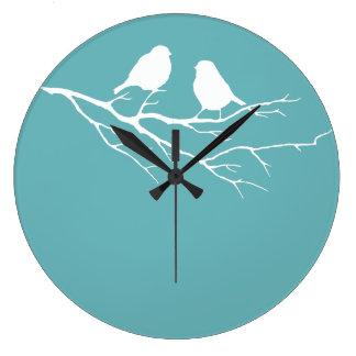 Diamante azul 5 de Dulux de dos pequeños pájaros Reloj Redondo Grande