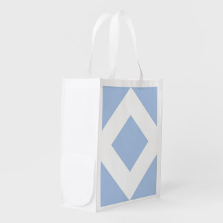 Diamante azul claro, frontera blanca intrépida bolsas reutilizables
