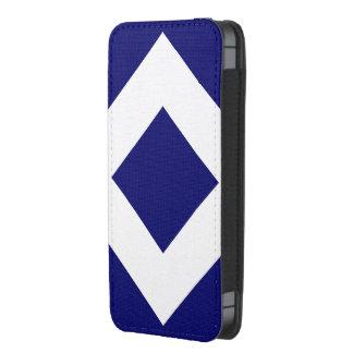 Diamante azul profundo, frontera blanca intrépida funda acolchada para iPhone