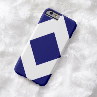 Diamante azul profundo, frontera blanca intrépida funda para iPhone 6 barely there