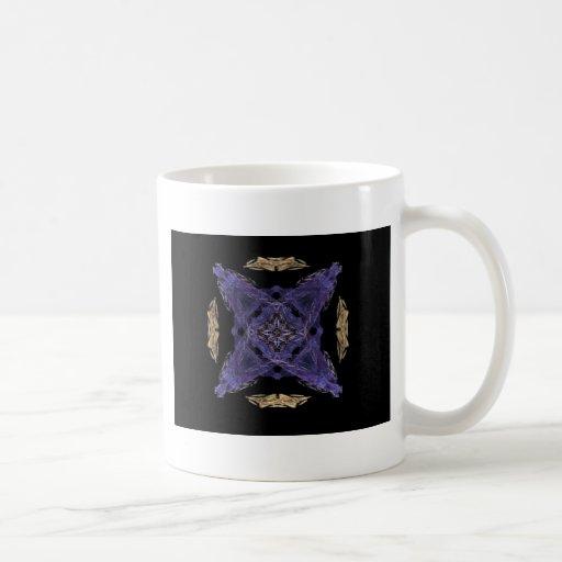 Diamante azul y X en arte del fractal de Cirlce de Tazas De Café