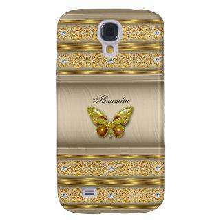 Diamante beige 3 de la mariposa del caramelo exóti funda para galaxy s4