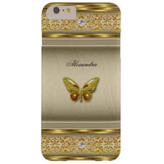 Diamante beige 3 de la mariposa del caramelo funda de iPhone 6 plus barely there
