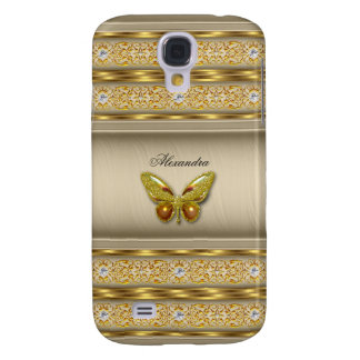 Diamante beige 3 de la mariposa del caramelo funda para galaxy s4
