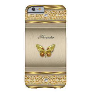 Diamante beige 3 de la mariposa del caramelo funda para iPhone 6 barely there