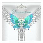 """Diamante blanco azul 2 de la mariposa del trullo invitación 5.25"""" x 5.25"""""""