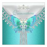 """Diamante blanco azul de la mariposa del trullo de invitación 5.25"""" x 5.25"""""""