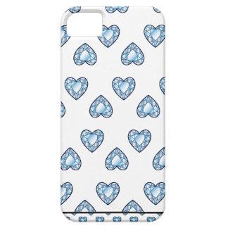 DIAMANTE BLANCO AZUL del AMOR de los CORAZONES de iPhone 5 Protectores