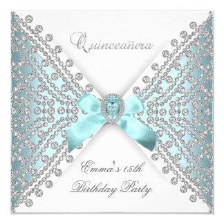 Diamante blanco de plata azul del décimo quinto invitacion personal