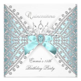 Diamante blanco de plata azul del décimo quinto tr invitaciones personalizada