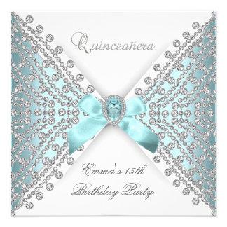 Diamante blanco de plata azul del décimo quinto tr invitacion personal