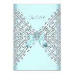 Diamante blanco de plata azul del trullo de la invitación 8,9 x 12,7 cm
