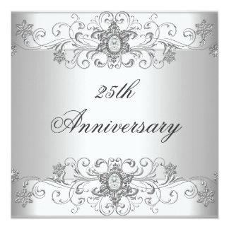 """Diamante blanco de plata del 25to aniversario invitación 5.25"""" x 5.25"""""""