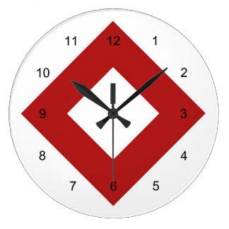Diamante blanco, frontera roja intrépida reloj redondo grande