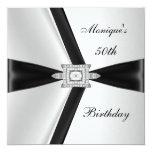 Diamante blanco negro del 50.o cumpleaños elegante comunicados personalizados