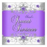 Diamante blanco púrpura de la fiesta de cumpleaños invitaciones personalizada