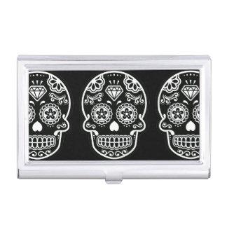 Diamante blanco y negro del cráneo del azúcar cajas de tarjetas de presentación