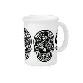 Diamante blanco y negro del cráneo del azúcar jarra para bebida