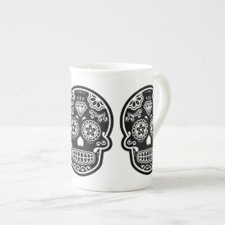 Diamante blanco y negro del cráneo del azúcar taza de porcelana