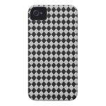 Diamante blanco y negro del Harlequin Case-Mate iPhone 4 Carcasa