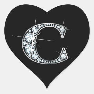 """Diamante Bling de """"C"""" en el pegatina negro del"""