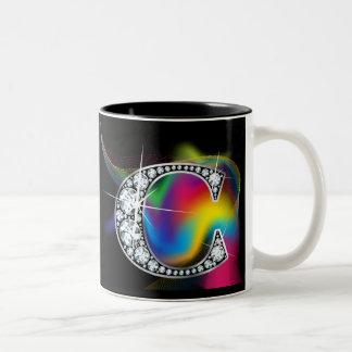 Diamante Bling de C en la taza del remolino del