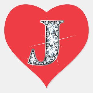 """Diamante Bling de """"J"""" en el pegatina rojo del"""