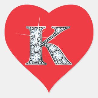 """Diamante Bling de """"K"""" en el pegatina rojo del"""