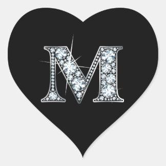 """Diamante Bling de """"M"""" en el pegatina negro del"""