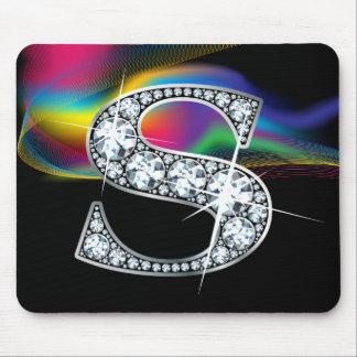 """Diamante Bling de """"S"""" con el remolino Mousepad del"""