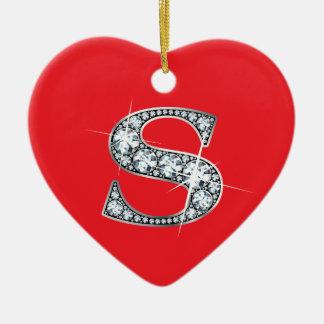 """Diamante Bling de """"S"""" en el ornamento rojo Adorno Navideño De Cerámica En Forma De Corazón"""