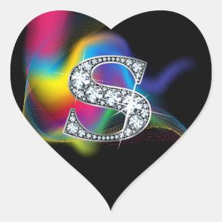 """Diamante Bling de """"S"""" en el pegatina del corazón"""