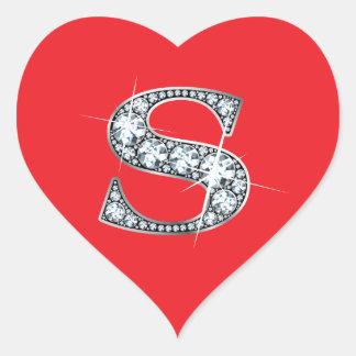 """Diamante Bling de """"S"""" en el pegatina rojo del"""