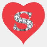 """Diamante Bling de """"S"""" en el pegatina rojo del cora"""
