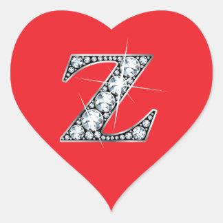 """Diamante Bling de """"Z"""" en el pegatina rojo del"""