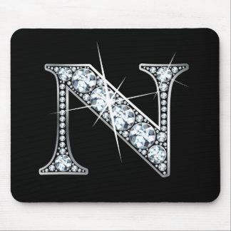"Diamante Bling Mousepad de ""N"""